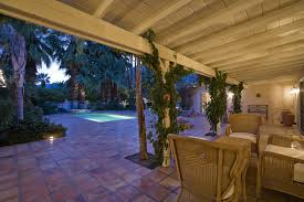 spanish style outdoor furniture. Classic Covered Garden Patio Design With Spanish Style Terra Cotta Red Paving Tiles And Creeping Vines Outdoor Furniture