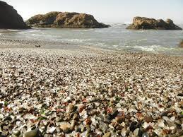 sea glass on glass beach
