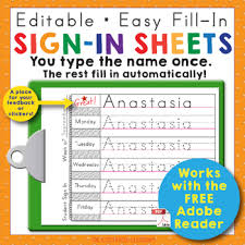 Preschool And Kindergarten Name Writing Practice Sign In Sheets | Tpt