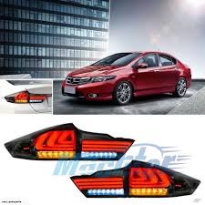Led Black Smoked Tail Lamps Lights Flow Light Fit Honda City 2014
