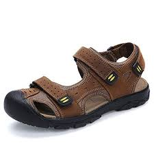 gracosy <b>Mens Leather</b> Sandals Hiking Walking Shoes Closed Toe ...