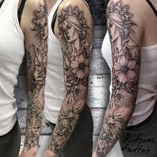 орнаментален узор цветы лев девушка рукав тату Tattoo тату