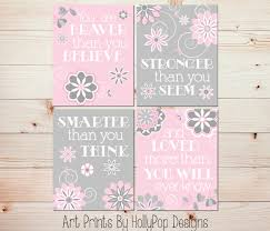 Pink And Grey Girls Bedroom Brave Girl Etsy