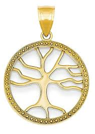 14k yellow gold tree life pendant charm new of nwkdem3045 precious metal without stones
