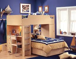 Kids Desk For Bedroom Bedroom Oak Wood Loft Bed With Desk And Stair In Navy Blue Kids