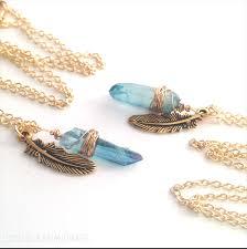 1 of 2 aqua aura quartz crystal point necklaces