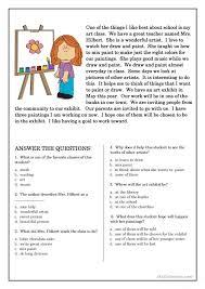 Reading Comprehension Multiple Choice Worksheets Free Worksheets ...