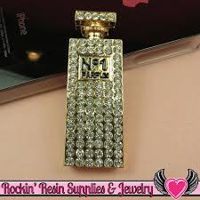 How To Decorate Perfume Bottles Tall PERFUME BOTTLE Gold Tone Alloy with Crystals Decoden Cabochon 67