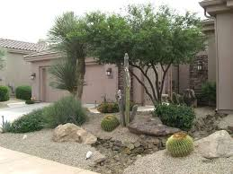 Desert Backyard Designs Custom Arizona Desert Front Yard Xeriscaping Idea With A Fake Dry Stream