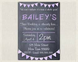 girls purple 1st birthday invitation printable first birthday photo invitation invites chalkboard bunting diy digital