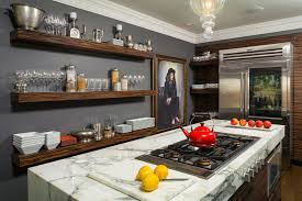 Beautiful marble cutting board in Kitchen Contemporary with Dark Gray Walls  next to Commercial Refrigerator alongside Martha ...