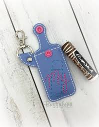 Lip Balm Holder Embroidery Design My Chapstick Pocket Snap Tab Key Fob Embroidery Design