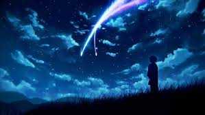 night sky scenery clouds stars anime your name wallpaper