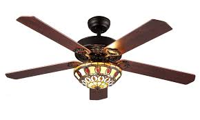 victorian ceiling fan with tiffany shade 5 reversable blades remote control bella depot