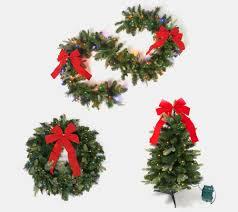 Bethlehem Lights Wreath Bethlehem Lights Overlit Wreath Garland Or Stake Tree With Red Bow Qvc Com