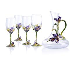 Wine Glass Decorating Designs Pewter Design Iris Flower Decorate Wine Glass Set Buy Enamel 32