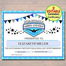 Editable Swim Team Award Certificates Instant Download Swimming