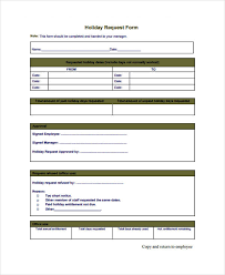 Holiday Request Form Impressive Request Form Template