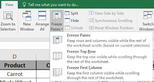 how to freeze panes in microsoft excel