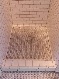 contemporary how to tile shower floor tiled bathroom renovation and wall pan on concrete with pebble mosaic large drain around