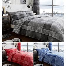 details about denim check printed duvet cover with pillow cases grey red blue double king size