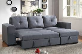 convertible sectional sofa bed. Brilliant Bed F6910 Convertible Sectional Sofa In Blue Grey LinenLike Fabric With Bed