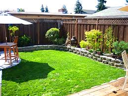 Uncategorized, Outstanding Yard Landscaping Ideas On A Budget Small Backyard  Landscape And Green Grass Maintenance