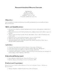 Resume For Research Assistant Research Assistant Resume Sample