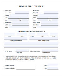 Bill Of Sale For A Horse 9 Bill Of Sale Samples Pdf Word