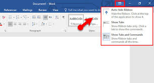 Word Ribbon How To Use Ribbon Display Options In Microsoft Office 2016