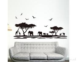 safari wall sticker tree wall stickers with giraffe elephant deer animal wall art for baby nursery for children room