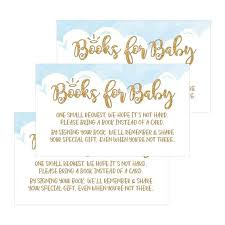 25 Books For Baby Request Insert Card For Boy Blue Heaven Sent Baby