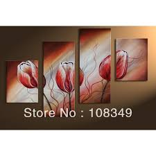 >hand painted oil wall art dancing red tulips decoration landscape  hand painted oil wall art dancing red tulips decoration landscape framed canvas oil painting 4pcs set mixorde in painting calligraphy from home garden