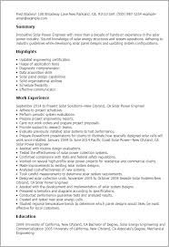 Resume Templates: Solar Power Engineer