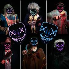 Halloween Mask Light Up Eyes Us 297 59 7 Off Led Mask The Purge Light Up Neon Skull Mask Party Festival Cosplay Costume Christmas Xmas New Year Gift Halloween Mask In Party