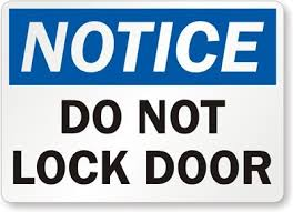 lock door sign. Lock Door Sign O