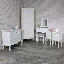 Image Bedroom Design Hover Flora Furniture White Single Wardrobe Dressing Table Set Pair Of Bedsides And
