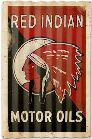 to find out more about red indian motor oils vintage corrugated sign