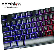 russian backlit keyboard led switch 3 color usb wired breathing