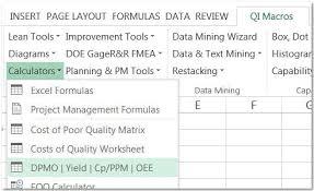 Six Sigma Calculator Dpmo Calculator In Excel