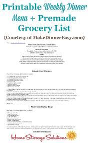 Printable Weekly Dinner Menu Printable Weekly Dinner Menu With Premade Grocery List Sample