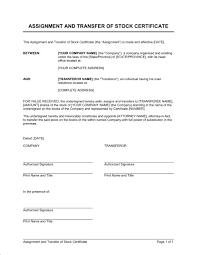 Template For Stock Certificate Assignment And Transfer Of Stock Certificate Template Word