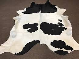 extra large brazilian black and white cowhide rug size 98x88 in au581