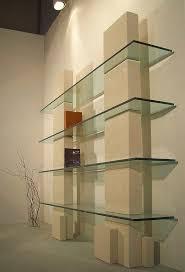wall mounted shelf contemporary glass stone cube by roberto zordan