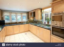 Fitted Kitchen Modern Domestic House Fitted Kitchen Large Big Nice Stock Photo