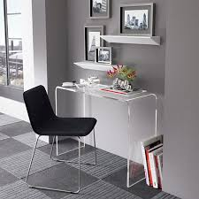 work from home office. Office:Minimalist Office With Small Acrylic Console Desk And Black Chair Wall Shelves Work From Home