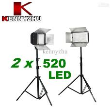 new pro studio lighting kit ds 520 2 x 500 led photo light 2m stand high quality