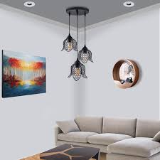 warm yellow 3 round cer lotus shaped hanging chandelier lamp