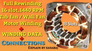 rewinding 16 slot 1440 rpm table fan