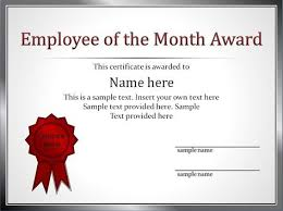 Employee Of The Month Award Employee Award Certificate Template Free Templates Design